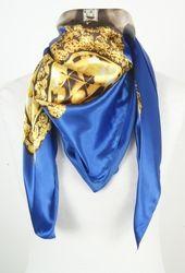 Kobaltblauwe satijn zijden sjaal met parelprint