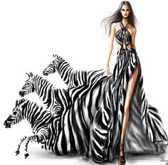 I love this illustration because the way the dress becomes the zebras, it is a…