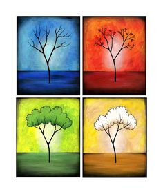 Set of Four 8 x 10 Prints - 4 Seasons Abstract Landscape Tree Art Small Canvas Paintings, Original Paintings, Tree Canvas, Canvas Art, Four Seasons Painting, Sisters Art, Pastel, Expressive Art, Contemporary Artwork