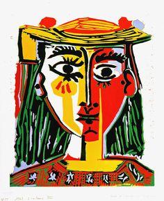 Portrait de Femme au Chapeau à Pompons et au Corsage Imprimé (1962) is another of the 405 Picasso linocuts being donated to the Remai Art Gallery of Saskatchewan