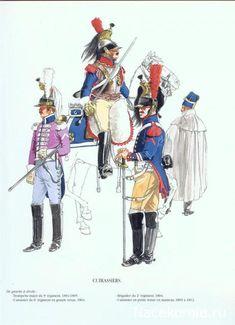 Cuirassiers Trompette Major du 9e rgt 1804-05 Cuirassier du 6e rgt en grande tenue 1804 Brigadier du 2e rgt 1804 Cuirassier en petite tenue en manteau 1803-1812