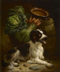 Henriëtte Ronner-Knip (1821-1909) A young setter, oil on panel 18.8 x 15.8 cm., signed l.r. Collection Simonis & Buunk, The Netherlands.
