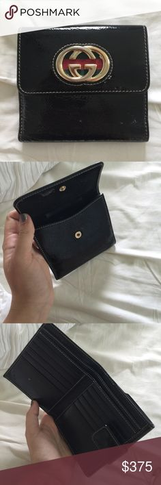 Gucci Wallet Authentic, Patent leather, with gold Gucci detail Gucci Bags Wallets