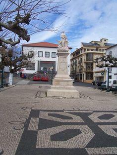 Praia da Vitoria town square. Terceira Azores Portugal.  Post Office at the very back.