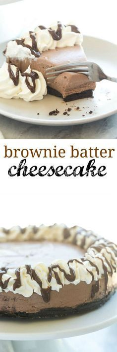 This No Bake Brownie Batter Cheesecake is the cheesecake for chocolate lovers! I… This No Bake Brownie Batter Cheesecake is the cheesecake for chocolate lovers! It's rich and fudgy with no oven required! Brownie Desserts, No Bake Desserts, Easy Desserts, Delicious Desserts, Yummy Food, Brownie Cheesecake, Classic Cheesecake, Chocolate Cheesecake, East Dessert Recipes