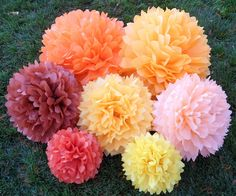 Baby Shower Decorations - Set of 12 Hanging Tissue Paper PomPoms or Tissue Paper Flower Centerpieces - Your Colors. $30.00, via Etsy.