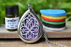 Stainless Steel Teardrop Essential Oil Diffuser Necklace //
