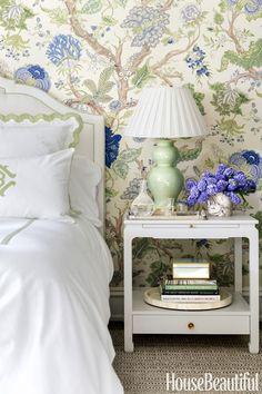 Gorgeous Arbre de Vie by Clarence House wallpaper sets the color scheme for bedroom by Ashley Whittaker. Home Design, Design Blog, Design Ideas, Design Art, Design Inspiration, Clarence House, Girls Bedroom, Bedroom Decor, Master Bedroom
