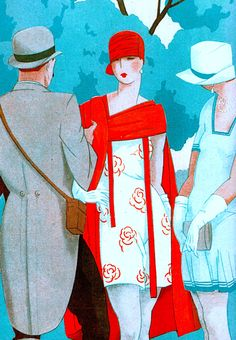 Racegoers at Longchamps epitomise the best fashions of the day (1927) (detail)  Retro Paris by Gary Chapman (2015) (please follow minkshmink on pinterest) #twenties #twentiesparis #flapper