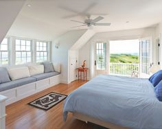 Exclusive Luxurious Cottage Style Provides White Themed Interior: Beautiful Bedroom Design With Bay Window And Balcony At Cape Cod Cottage ~ sourcemall.net Villas Inspiration