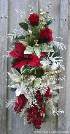 Beacon Hill Grand Holiday Swag ~A New England Wreath Company Designer Original~ Rose Gold Christmas Decorations, Christmas Floral Arrangements, Christmas Swags, Christmas Door, Holiday Wreaths, Xmas Decorations, Christmas Crafts, Designer, Elegant