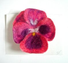 Pansy Needle and Wet Felted Flower Pin. $20.00, via Etsy.