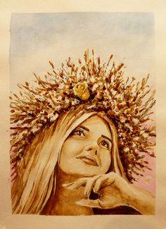 Кофейный рисунок 21х30 «Девушка в венке» | Andrew Pugach