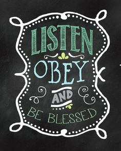 Listen Obey & Be Blessed Wall Print. Great by JellyfishPrintables