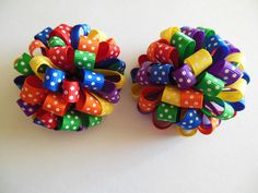 Set of 2 loopy puff bows Rainbow swiss dots boutique bow.