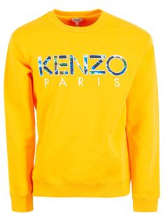 Kenzo Embroidered Logo Sweatshirt In Jaune Orange Jaune Orange, Kenzo, Neiman Marcus, Mens Fashion, Sweatshirts, Sweaters, Baby, Cotton, Clothes