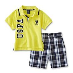 U.S. Polo Assn. Infant & Toddler Boys' Polo Shirt & Shorts - Plaid