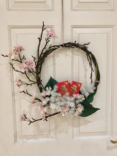 Chinese New Year Wreath create by Amy Yip Illustrations Chinese New Year Flower, Chinese New Year Design, Chinese Theme, Chinese Flowers, Chinese New Year Decorations, New Years Decorations, Ikebana Arrangements, Floral Arrangements, Diy Wreath