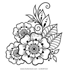 Mehndi flower pattern for Henna drawing and tattoo. Decoration in ethnic oriental, Indian style. Mehndi flower pattern for Henna drawing and tattoo. Decoration in ethnic oriental, Indian style. Flower Pattern Drawing, Flower Pattern Design, Flower Patterns, Design Of Flowers, Henna Patterns Hand, Simple Henna Patterns, Doodle Patterns, Henna Tattoo Designs, Flower Tattoo Designs
