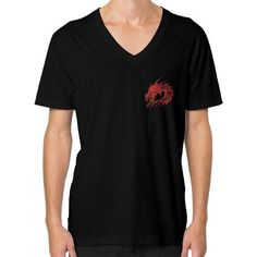 Red Dragon Head V-Neck (on man)
