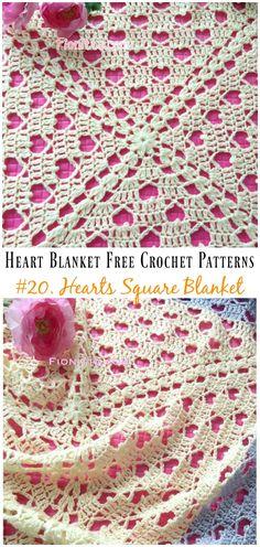 Crochet Hearts Square Blanket Free Pattern - Free Patterns Heart Blanket Crochet Patterns Free and Paid: Crochet Fillet Heart Blanket, Heart Throw, Gingham Heart Blanket, Heart Granny Blanket and Crochet Afghans, Crochet Heart Blanket, Afghan Crochet Patterns, Crochet Squares, Free Crochet, Knitting Patterns, Sewing Patterns, Granny Squares, Crochet Blankets