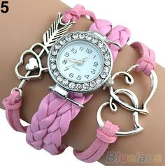 Women Infinity Love Heart Braided Faux Leather Bracelet Charm Quartz Wrist Watch  $13.00 free shipping You save 49% off the regular price of $25.99