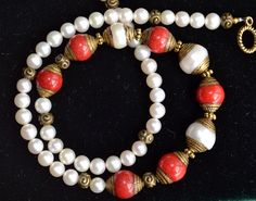 Coral and pearls necklace, coral necklace, pearls necklace (745) by LKArtChic on Etsy