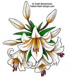 white lily flower tattoo idea - needs pink and yellow Lily Flower Tattoos, Flower Tattoo Arm, White Lily Flower, White Lilies, Tattoo Arm Designs, Flower Tattoo Designs, Carnation Tattoo, Floral Drawing, Flower Drawings