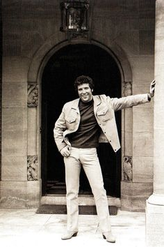 Welsh singer Tom Jones in the pillared entrance  of his palatial home at St George's Hill in Weybridge, Surrey, on his return to Britain after almost six months in America - UK - 27 September 1969