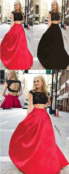 Charming Red And Black Two Pieces Lace Floor Length Prom Dresses Evening Dresses