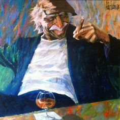 """Aldo Luongo, """"Cigar and Cognac"""" - Luongo artwork available at Lahaina Galleries. visit: www.lahainagalleries.com, for shows & to see artwork first, join our FB ohana: www.facebook.com/lahainagalleriesFB"""