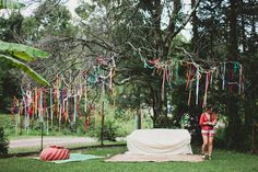 colourful streamers hanging from tree