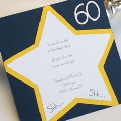 It's an awesome custom birthday party invitation with both die-cut stars and numbers.