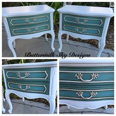 French Provincial nightstands painted with #debisdiypaint and #anniesloanchalkpaint #paintedfurniture #chalkpaint #buttermilkskydesigns