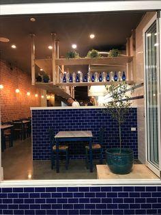 RESTAURANT | Greek Inspired interpreting greek style restaurants with blue #subwaytiles -simple yet stylish effect #food  #foodstagram  #adelaiderestaurant #adelaide #foodie Feature Tiles, Subway Tile, Restaurants, Greek, Table Decorations, Inspired, Stylish, Simple, Blue