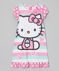 Look what I found on #zulily! Aqua Stripe Hello Kitty Nightgown - Girls by Hello Kitty #zulilyfinds