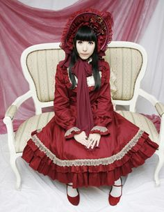 Red Cotton Ruffled Square Neck Long Sleeves Classic Lolita Dress