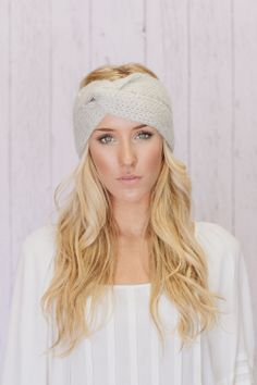 Knitted Headband Ear Warmer Turband Style  :  going to make this, knit long  3 in wide and connect