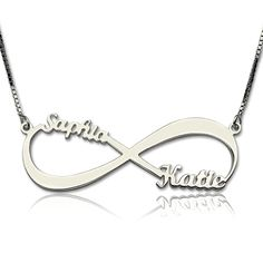 Sterling Silver Personalized Infinity Name Necklace for Mom