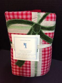 Pottery Barn Kids SANTA Friends Quilt_ed EURO SHAM Present Christmas Bed NEW  #PotteryBarnKids