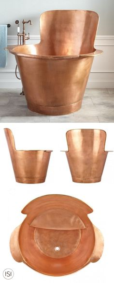 Talk about the most perfect addition to your bathroom remodel. Check out this Lannese Copper Japanese Soaking Tub from Signature Hardware to inspire your makeover plans.
