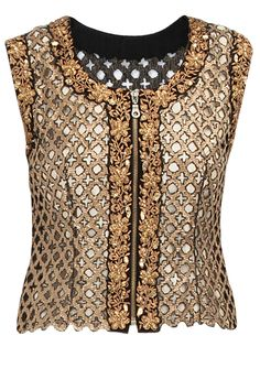 Black sequin cutwork waistcoat available only at Pernia's Pop-Up Shop.