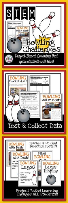 STEM Bowling Activities Challenges is a set of activities for classrooms, Summer Library Programs, Maker Spaces, and After School Clubs. Your students will have fun learning with a bowling theme!