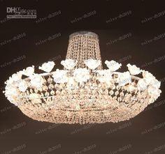 Keramik Rose K9 Crystal Decke Light Modern Fashion Luxus Kronleuchter Wohnzimmer Esszimmer Licht Dia