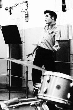 "Radio Recorders in Hollywood, CA on April 30, 1957. Elvis was recording the songs for his third movie ""Jailhouse Rock"""