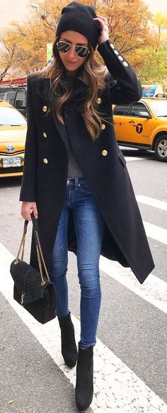#winter #fashion /  Black Coat   Skinny Jeans