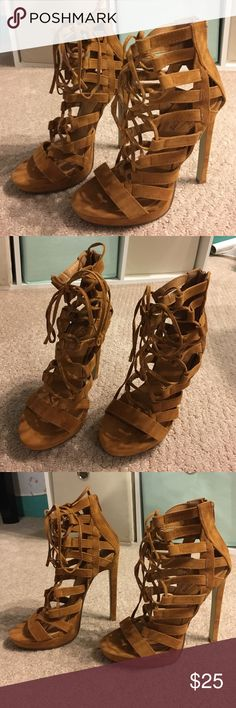 Sexy Lace Up Heels (Tan) Sexy tan lace up heels for a perfect night out! Never been worn. Condition 10/10. Size 6 US women's/36 EURO women's. public desire Shoes Heels