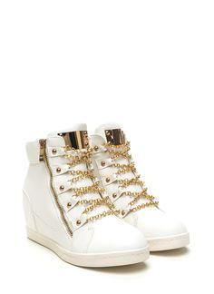 No Chain No Gain Wedge Sneakers WHITE