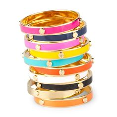 in love with gold + enamel colored bangles