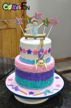 Two tiered gymnastics themed birthday cake with balance beam gymnast and tumbling gymnast. Bottom tier is fondant ruffles. Gymnastics Birthday Cakes, 9th Birthday Cake, Themed Birthday Cakes, Birthday Fun, Gymnastics Party, Birthday Ideas, Elite Gymnastics, Birthday Parties, Different Cakes